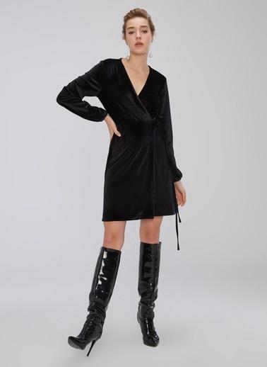 People By Fabrika Kadife Anvelop Elbise Siyah